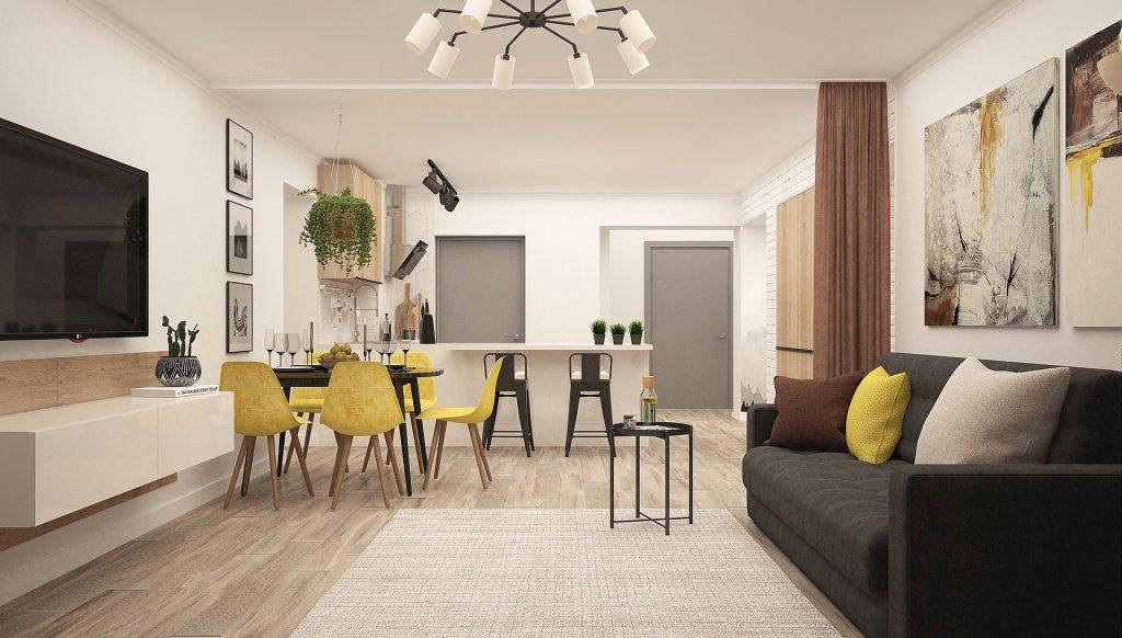 Stil modern de sufragerie + bucatarie deschisa, combinatie de culori inchise si pete de culoare (scaunele, pernele) - alte idei home&deco pe homedecomag.ro